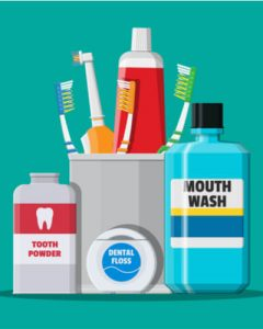 oral hygiene products for clean teeth and mouth