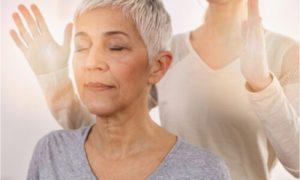 The woman gets holistic health treatment.
